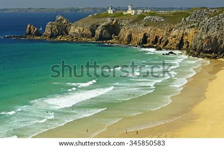 Sandy beach at Cape Toulinguet, Camaret sur mer, Brittany, France - stock photo