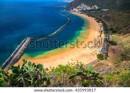 sandy beach Las Teresitas near Santa cruz de Tenerife, Canary Islands, Spain - stock photo
