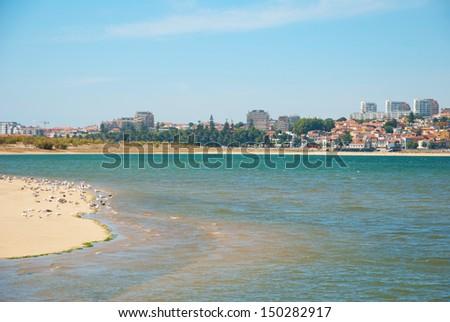 Sandy beach of naural reserve for birds in Porto, Portugal - stock photo