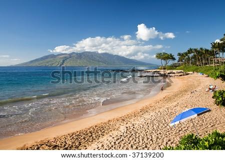 Sandy beach on Maui a Hawaiian Island - stock photo