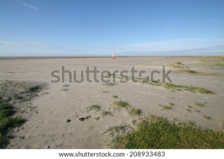Sandy beach on Schiemonnikoog, Netherlands. - stock photo
