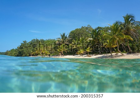 Sandy beach with tropical vegetation viewed from water surface, Caribbean sea, Panama - stock photo