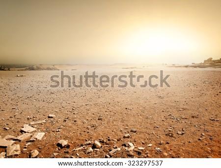 Sandy desert in Egypt at the sunset - stock photo