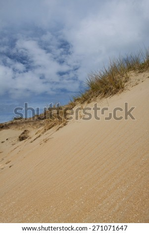 Sandy dunes with cloudy blue sky - stock photo