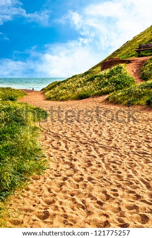 Sandy path to the beach. - stock photo