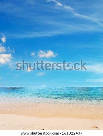 sandy shore and cloudy sky in Costa Pardiso - stock photo