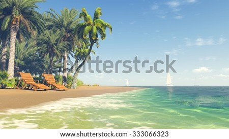 Sandy tropical beach with palm trees, deckchairs and few yahts in the distance at daytime. 3D rendering file. - stock photo