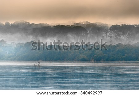 Sangha River. Morning fog on the African river Sangha. Congo. - stock photo