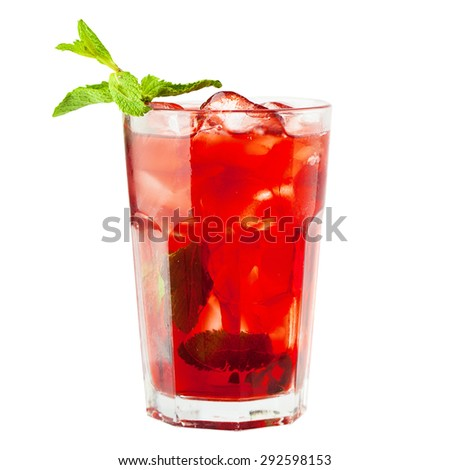 Sangria Glass. Wine Drink with Ice and Fruits - stock photo