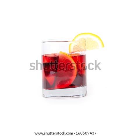 Sangria in glass, isolated on white  - stock photo