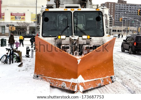 Sanitation tracks cleaning streets   in NYC  - stock photo