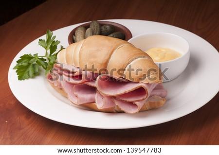 sanmdwich tasty turkey ham special bread - stock photo