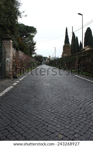 Sanpietrini in Via Appia Antica, typical Rome pavement, Italy - stock photo