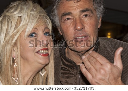 """Sanremo, Italy, 15 February 2015: Massimo Giletti RAI presenter of the show """"L 'Arena' photographed with a fan of his - stock photo"""