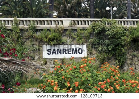 Sanremo written on a wall in Sanremo, Italy - stock photo