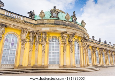 Sanssouci is the name of the former summer palace of Frederick the Great, King of Prussia, in Potsdam, near Berlin - stock photo