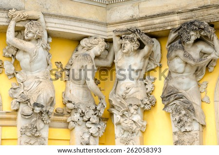 Sanssouci is the name of the former summer palace of Frederick the Great, King of Prussia, in Potsdam, near Berlin. The palace is considered the major work of Rococo architecture in Germany. - stock photo