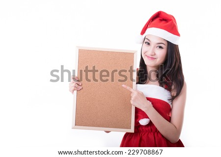 Sant Asian girl holding blank banner on white background - stock photo