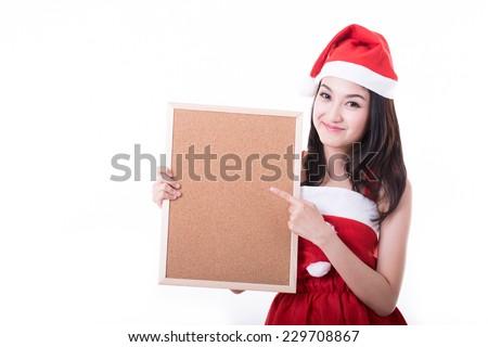 Sant Asian girl holding blank banner on white background - stock photo