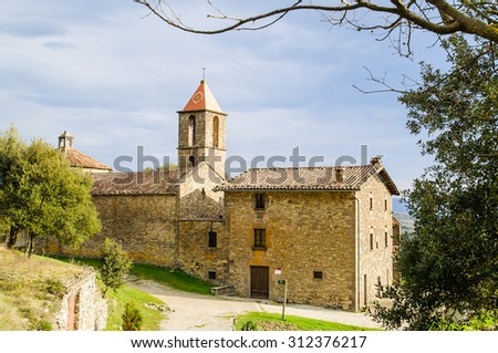 Sant Joan de Fabregues is a XI century church in rupit i pruit barcelona catalonia spain - stock photo