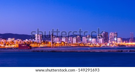 Sant Marti  district from sea in night. Barcelona, Spain - stock photo