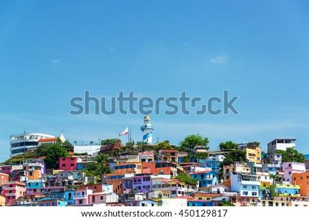Santa Ana hill view in Guayaquil, Ecuador - stock photo