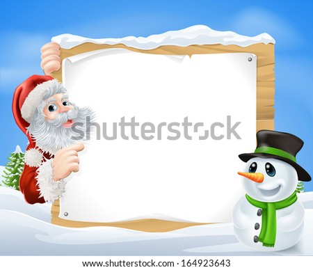 Santa and cartoon Snowman Snow Scene with Santa and a cartoon snowman in a winter scene framing a wooden sign - stock photo