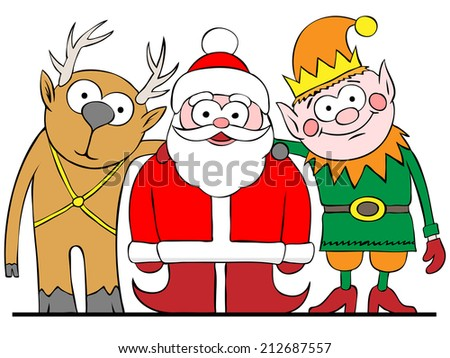 Santa and friends illustration raster version - stock photo