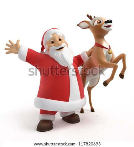 Santa and reindeer, 3d image with work path - stock photo