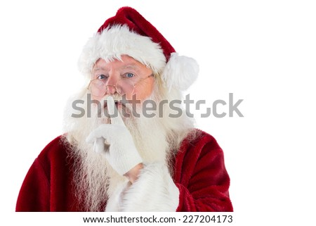 Santa asking for quiet to camera on white background - stock photo
