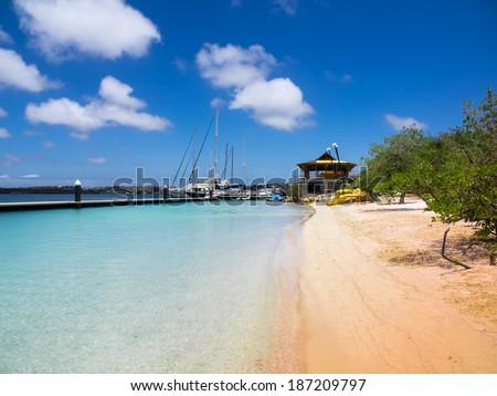 Santa Barbara Beach with tropical blue warm waters Curacao - stock photo