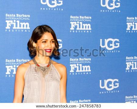 SANTA BARBARA, CA - JANUARY 27, 2015: Actress Freida Pinto (Elaheh) of Desert Dancer attends its US Premiere on the Red Carpet at the 30th Santa Barbara International Film Festival. - stock photo