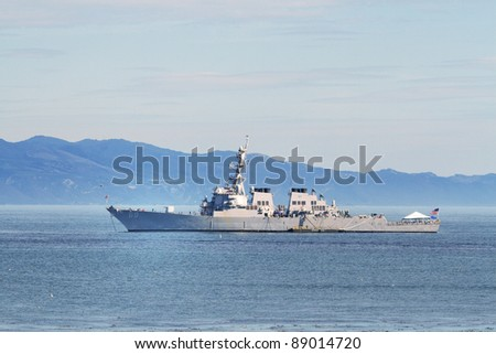 SANTA BARBARA, CA - NOV. 13: The USS Milius on a harbor visit, November 13, 2011 in Santa Barbara, CA. The USS Milius (DDG 69) is an AEGIS guided missile destroyer named after Cdr. Paul Milius, USN - stock photo