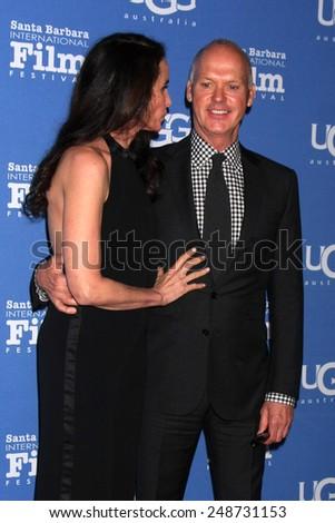 SANTA BARBARA - JAN 31:  Andie MacDowell, Michael Keaton at the Santa Barbara International Film Festival - Modern Master at a Arlington Theater on January 31, 2015 in Santa Barbara, CA - stock photo