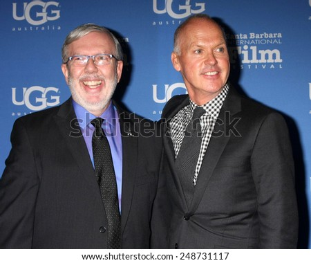 SANTA BARBARA - JAN 31:  Leonard Maltin, Michael Keaton at the Santa Barbara International Film Festival - Modern Master at a Arlington Theater on January 31, 2015 in Santa Barbara, CA - stock photo