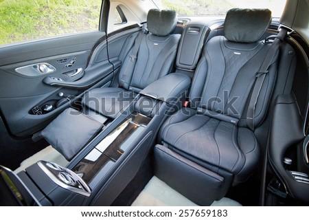Santa Barbara, USA Jan 17, 2015 : Mercedes-Maybach S 600 2015 interior on Jan 17 2015 in Hong Kong. - stock photo