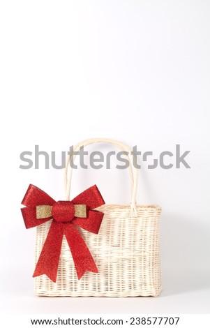 Santa basket isolated on white - stock photo