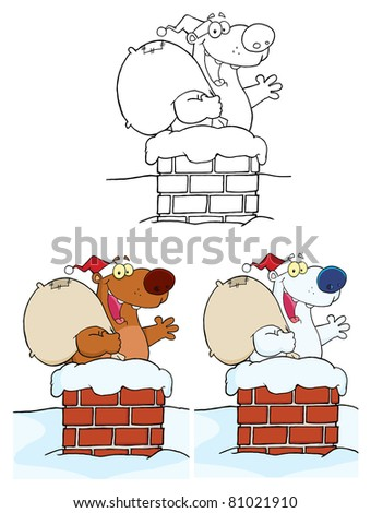 Santa Bear Waving A Greeting.Raster Collection.Vector version is also available - stock photo
