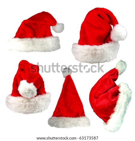 Santa cap collection - stock photo