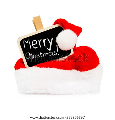 Santa Cap with blackboard sign isolated on white - stock photo