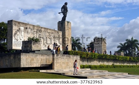 SANTA CLARA, CUBA - JANUARY 19, 2016:  People gather at the Mausoleum and memorial of national hero Che Guevara and 29 others who fought with him in Bolivia. - stock photo