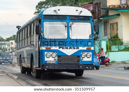 SANTA CLARA,CUBA-JULY 6,2015:Old city bus for everyday transport.Transportation in Cuba is improving after the economic reforms taken up by Raul Castro - stock photo