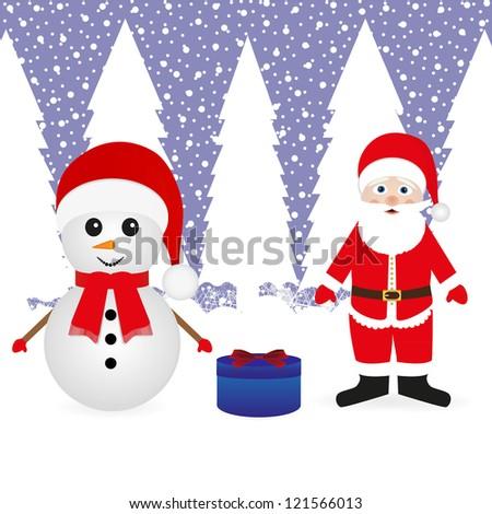 Santa Claus, a snowman and a Christmas gift - stock photo