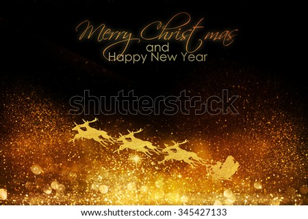 Santa Claus and his reindeer sleigh - stock photo