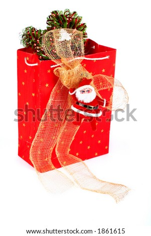 Santa Claus and red bag on white background - stock photo