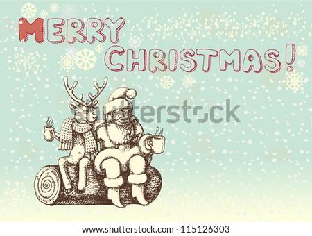 Santa Claus and reindeer taking a coffee break - stock photo