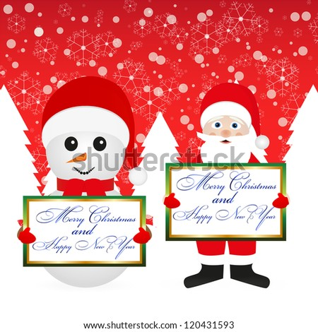 Santa Claus and snowman in the woods with a banner on the background of the red sky - stock photo