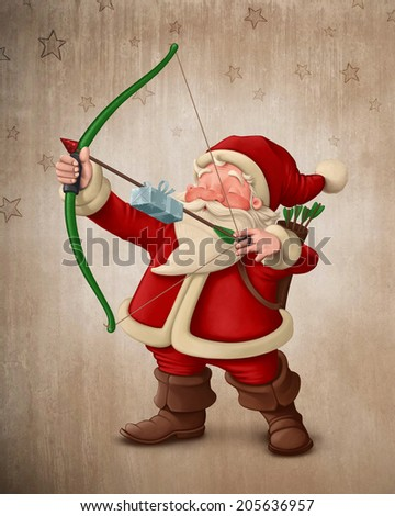 Santa Claus archer with the gift on the arrow - stock photo