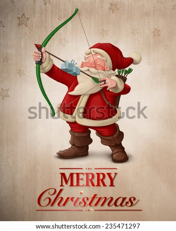 Santa Claus archer with the gift on the arrow greeting card - stock photo