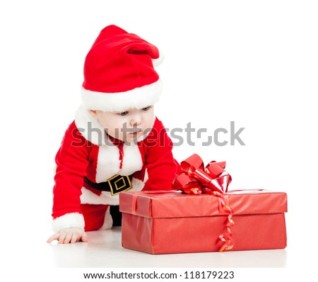 Santa Claus baby boy with gift box isolated on white background - stock photo